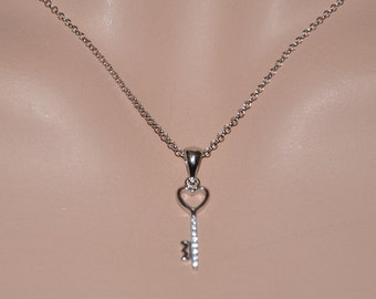 Sterling Silver and CZ Key Necklace, Key to Your Heart Necklace