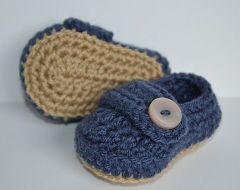 Baby Infant Boy Shoes, Crochet Baby Shoes, Baby Shoes, Baby Booties, blue and khaki, Newborn to 24 months, Photo Prop