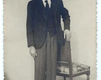 Vintage Photograph - Man with a suit Vintage Photo - Sepia Photo - 20s Photo - S96