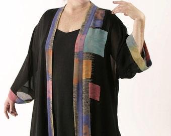 Peggy Lutz Plus Size Designer Tunic-Length Kimono Black with Tropical Brights Retro Sizes 22/24, 26/28