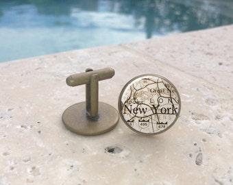 Vintage Mens New York Cufflinks,Cufflinks,Mens cufflinks,Glass Cufflinks, Gifts for Him, Mens Gifts,Map Cufflinks,NY,Mens Acessories