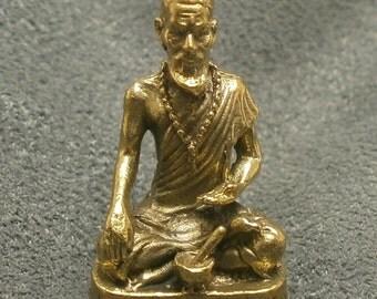 hermit cheevaka blessing for healing good health ruesri lersi thai mini brass amulet Thailand nice lucky gift talisman