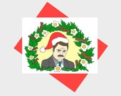 Christmas Card Ron Swanson Parks and Rec Funny Holiday Card