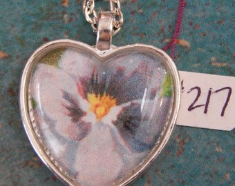 Heart Necklace Key Ring Purple Pansy #125