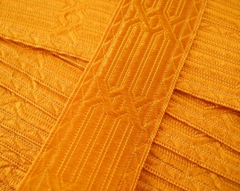 RIBBON TRIM:  Gold ribbon, 1 inch wide, church sewing, hat making, evening. 1 yard.