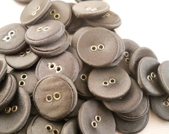 BUTTONS:  Satin cloth covered buttons, slate, 2 hole, 3/4 inch size, set of 48 buttons