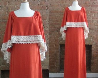 1970s tamale orange bohemian goddess maxi dress | 70's Boho Hippie Gypsy