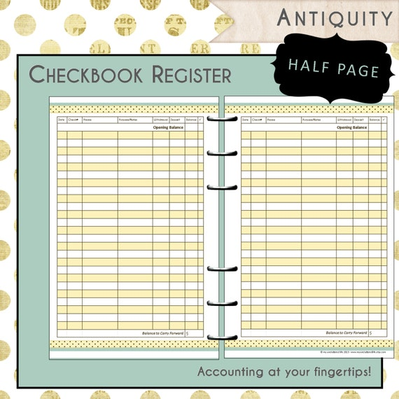 free check register printable pdf