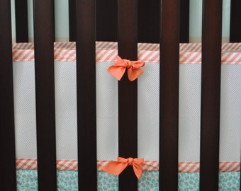 Custom Breathable Mesh Bumpers. Bumperless bedding. Breathable bumper. Baby Bumper. Crib bumper.