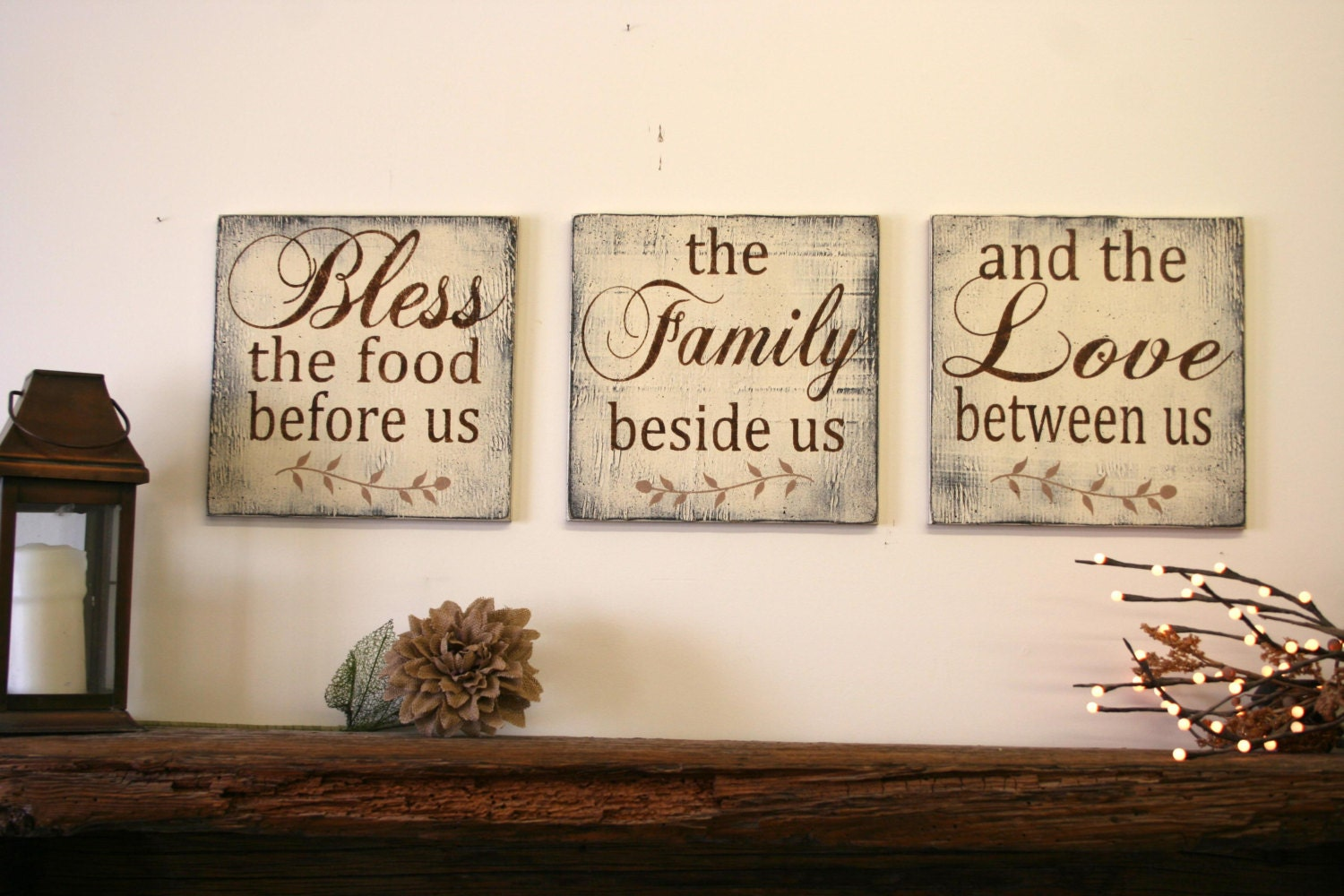 Bless the food before us wood wallhanging wood by for Kitchen dining room wall decor