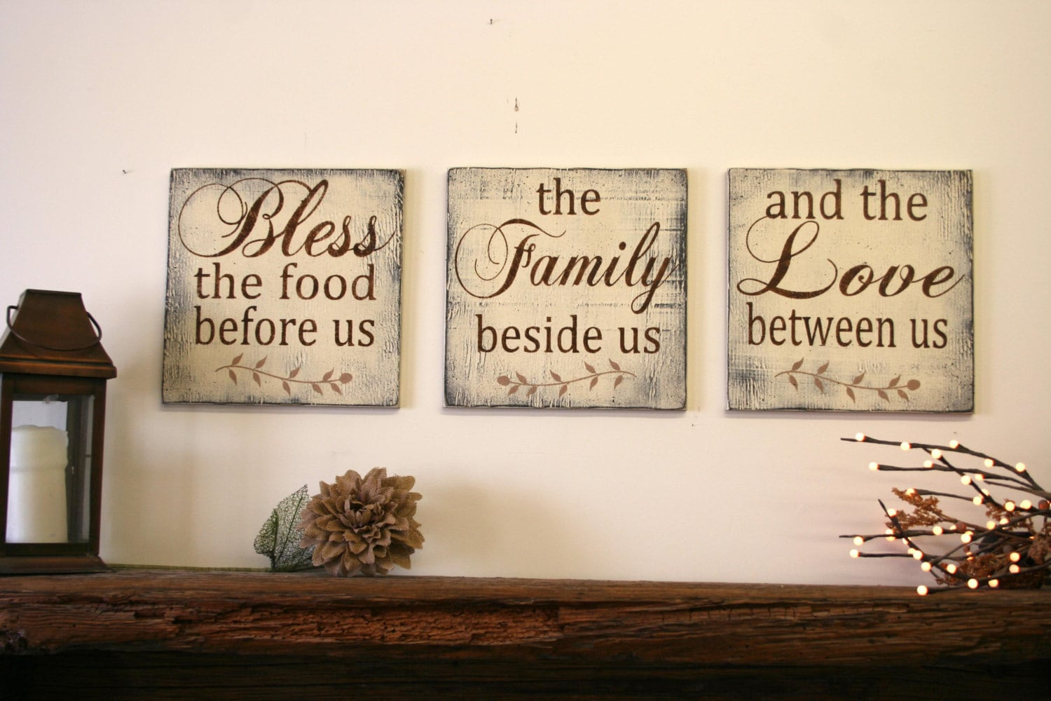 Bless the food before us wood wallhanging wood by for Kitchen and dining room wall decor