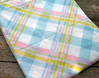 "Vintage 1960s 1970s Pastel Plaid Pink Blue Green Cotton Duvet Cover Bedding Comforter Bedspread 72""x86"""
