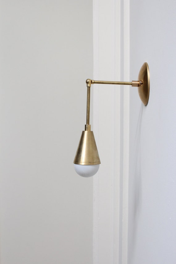 Wall Sconces Etsy : Adjustable Brass Wall Sconce with Cone
