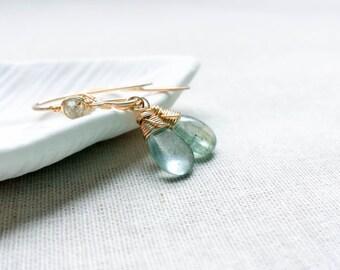 Moss Aquamarine 14k Gold Fill Petite Drop Earrings - Aqua Green Gemstone Gold Wire Wrapped OOAK Dangle Earrings Modern Sophisticated