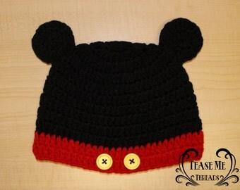 Mickey Mouse Crochet Beanie. Disney Crochet Hat