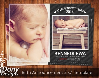 BUY 1 GET 1 FREE Birth Announcement - Neutral Baby Announcement Card - Photoshop Template Instant Download: cardcode-186