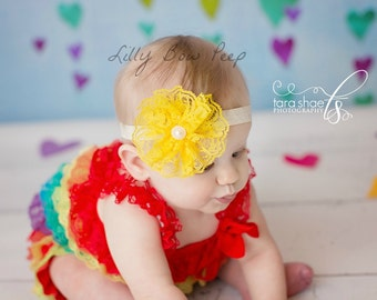Yellow Headband-Lace-Pearl-Preemie-Newborn Girl-Infant-Toddler-Child-Black Red Pink Blue Ivory-Vintage-Baptism-Wedding-Baby Headband-Bow