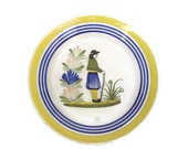 H Quimper Plate. Vintage French Faience Quimper. Decorative Wall Plate.