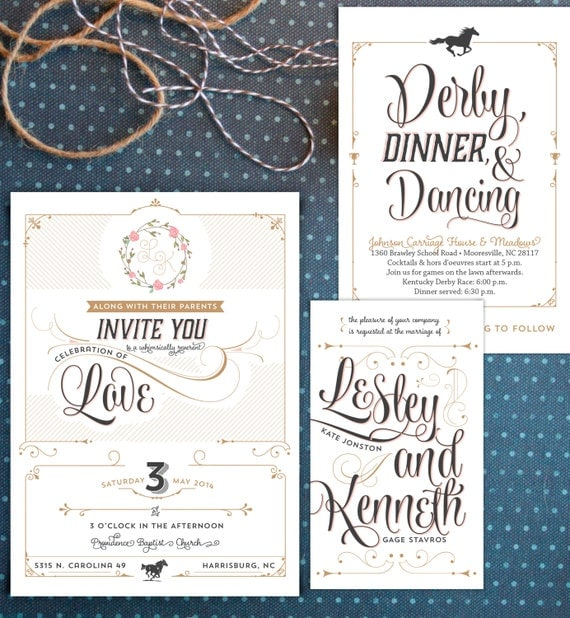 Romantic wedding suite perfect for a Kentucky Derby, rustic, or southern affair. Typography invitations with 3 layers. DIY or printed.