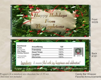 Christmas Favors, Holiday Gifts, Christmas Party, Candy Wrappers, Candy Bar, Chocolate Favors,  Christmas Wedding (Set of 12)(W229)