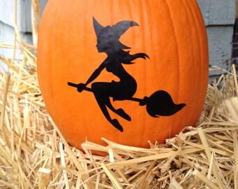 Witch Pumpkin Decal - Halloween Decal - Autumn Decal - Pumpkin Decal - Halloween Witch - Halloween Decor - Halloween Craft - Autumn Decor