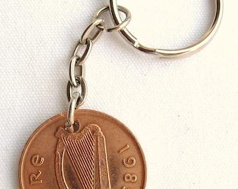 1985 2p Two Pence Irish Coin Keyring Key Chain Fob 32nd Birthday