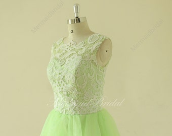 Vintage short lace sage wedding dress, wedding gown, destination wedding dress