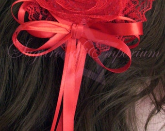Red Lace Rose Fascinator/Brooch