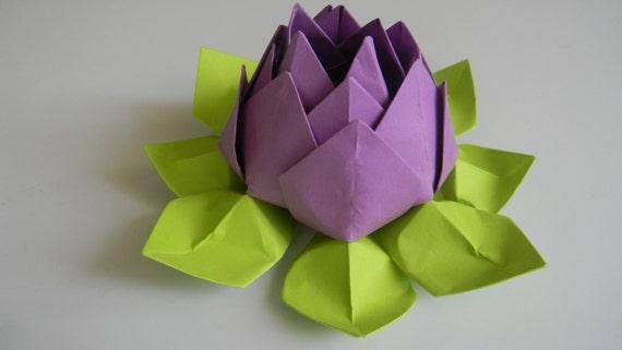 fleur en papier fait main origami fleur lotus par leesorigami. Black Bedroom Furniture Sets. Home Design Ideas