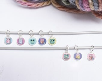 8 Stitch Markers, Owl Stitch Markers, Knitting Stitchmarkers, set of stitch markers cute owls.  Knitting supplies, gift for knitter (SO1)