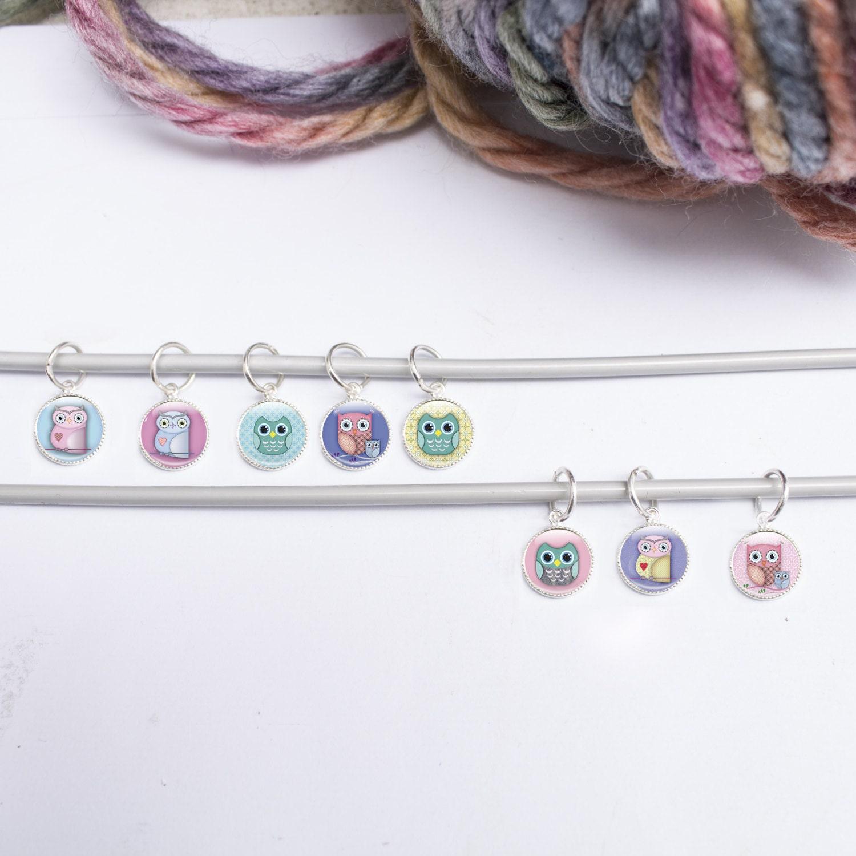Knitting Markers Uk : Stitch markers owl knitting stitchmarkers
