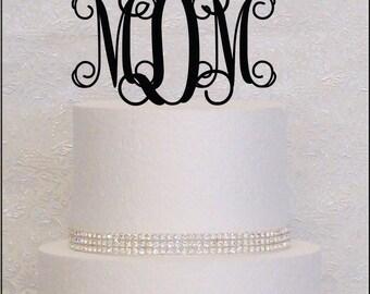 Vine Monogram Wedding Cake Topper in Black, Gold, or Silver