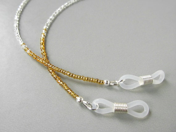 Gold And Silver Eyeglass Frames : Silver Eye Glasses Chain Silver and Gold Beaded Eyeglass