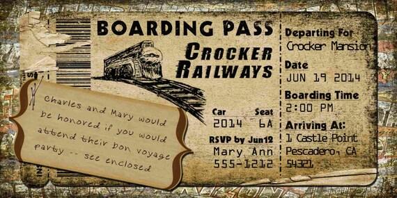Train Boarding Pass Invitation for Wedding Birthday Save The