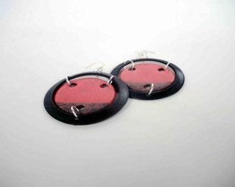 earrings ceramic raku and vinyl - red records - europeanstreetteam