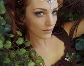 Medieval Renaissance circlet tiara opal moonstone elven floral filigree