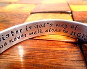 A sister is God's way - Sister Bracelet - Hand stamped - Sister Gifts - Big Little Sorority Jewelry