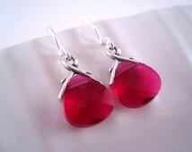 Hot Pink Jewelry - Swarovski Briolette Earrings - Pink Bridesmaid Jewelry - Magenta Jewelry - Hot Pink Earrings - Small Fushia Earrings