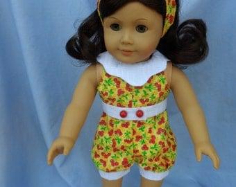 American Girl Doll Cheery Cherries Retro Romper and Headband
