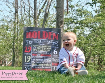 Custom Chalkboard Baseball Birthday Sign, Multiple Sizes Available, Printable, Custom Digital File