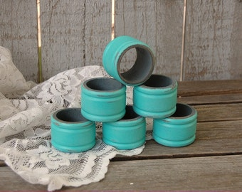Napkin Rings, Shabby Chic, Aqua, Turquoise, Grey, Set of 6, Hand Painted, Wood, Painted Napkin Rings, Wedding Decor, Rustic, Custom Color