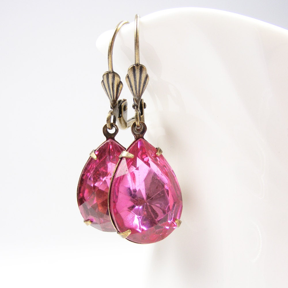 Rose Pink Earrings, Art Deco Style Teardrop Earrings, Vintage Crystal Pear Rhinestones
