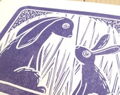 Bunny Mummy in purple - limited edition hand made linocut animal art print wall art with a shabby chic vintage retro feel