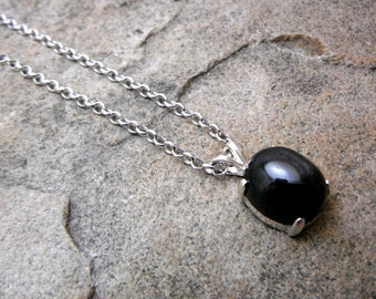 Black Star Diopside Necklace, Black Necklace, Fine Jewelry, Sterling Silver Necklace, Black Stone Necklace