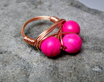 Pink Turquoise Ring, Cluster Ring, Hot Pink Ring, Wire Wrapped Ring, Copper Ring, Pink Stone Ring, Wire Wrapped Jewelry Handmade
