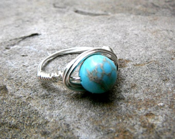 Sky Blue Jasper Ring, Wire Wrapped Ring, Imperial Jasper Ring, Blue Stone Ring, Blue Ring, Wire Wrapped Jewelry Handmade, Gemstone Ring