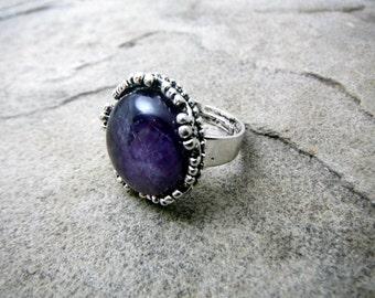 Purple Amethyst Ring, Purple Cabochon Ring, Purple Stone Ring, Purple Gemstone Ring, Purple Ring, Adjustable Ring, Amethyst Jewelry