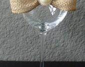 Burlap bow glass garters- wine glass garter- mason jar garter- wedding - bridal shower- bachelorette party accessories