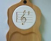 Vintage Wood Cheese Board Guitar Shaped 1960s Party