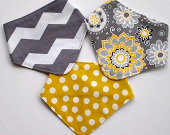 3 Baby Dribble Bib grey & yellow Flower Burst gray Chevron
